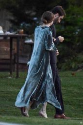 Emma Stone in a Grey Velvet Cowl Neck Dress 10/19/2019