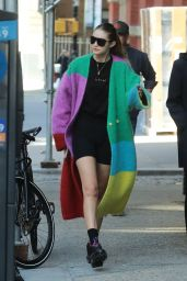 Gigi Hadid in Multicolor Coat - NYC 10/18/2019