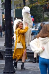 Hilary Duff - Film Set at Washington Square Park in NY 10/29/2019