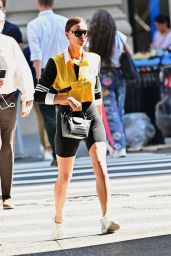 Irina Shayk in Bicycle Tights and Yellow Sport Top - New York City 10/02/2019