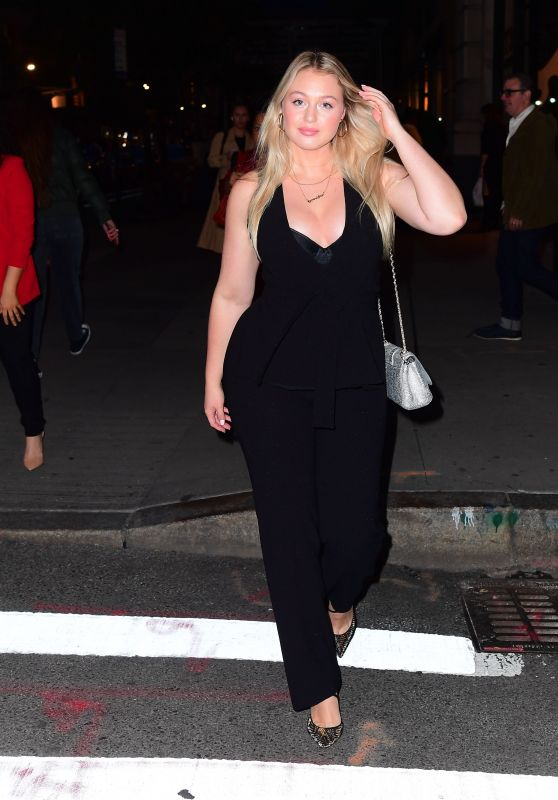 Iskra Lawrence in Plunging Black Jumpsuit 10/21/2019