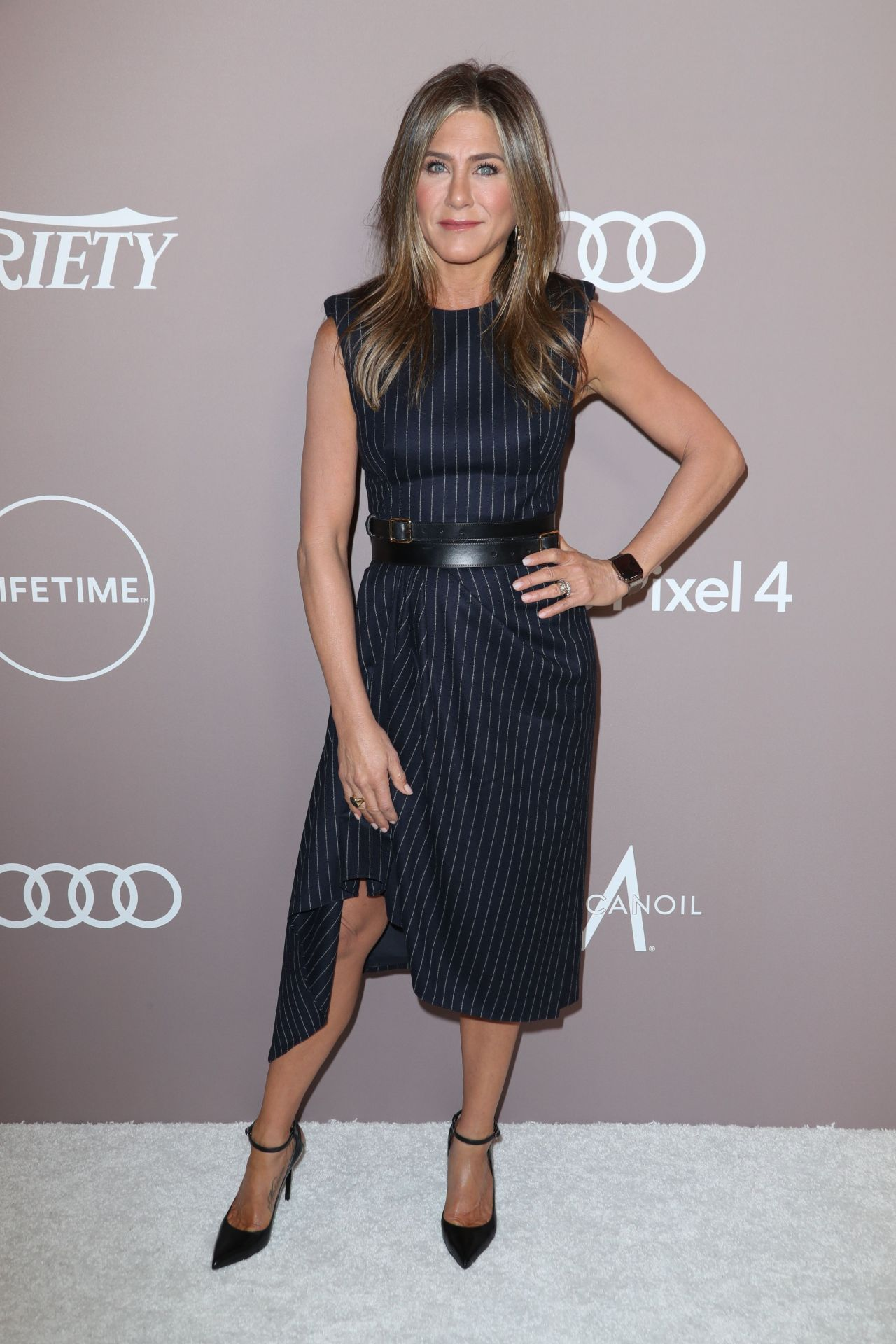 Jennifer Aniston gorgeous in sexy dress and heels at Variety's 2019 Power Of Women in Los Angeles
