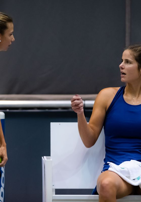 Julia Görges and Barbara Haas - Practise During the WTA International Tennis Tournament in Linz 10/08/2019