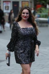 Kelly Brook in a Sparkling Silver Mini Dress - London 10/11/2019