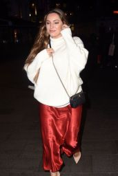 Kelly Brook in an Oversized White Jumper and Scarlet Satin Skirt 10/22/2019