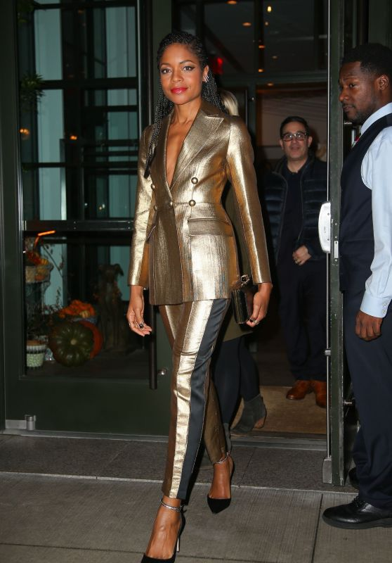 Naomie Harris in Gold - Heading Out for the Evening in NYC 10/21/2019