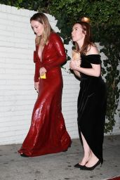 Olivia Wilde in a Form-Fitting Red Dress - Chateau Marmont in Hollywood 10/27/2019
