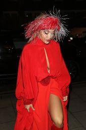 Rita Ora in Scarlet Gown - Chiltern Firehouse in London 10/21/2019