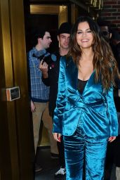 Selena Gomez in a Teal Silk Suit 10/28/2019