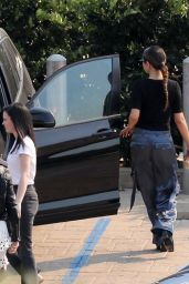 Selena Gomez in Silk Cargo Pants and a Black Blouse 10/12/2019