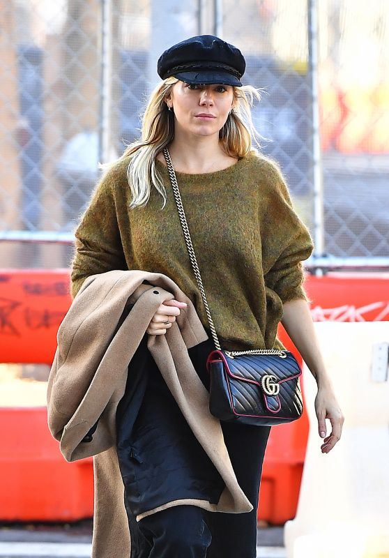 Sienna Miller in a Green Sweater in New York City 10/23/2019