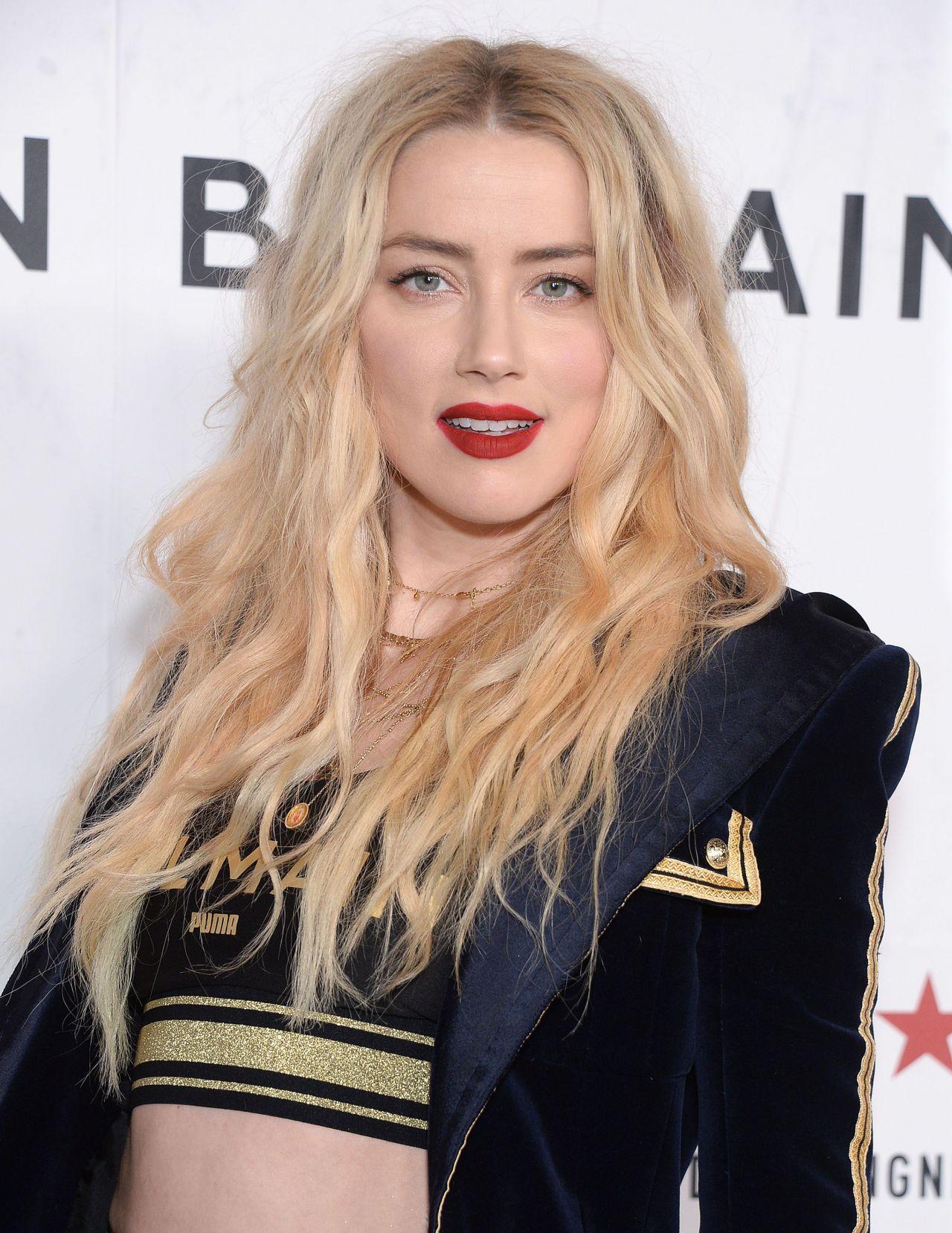 Hot crazy blonde Amber Heard at PUMA x Balmain Launch Event in LA