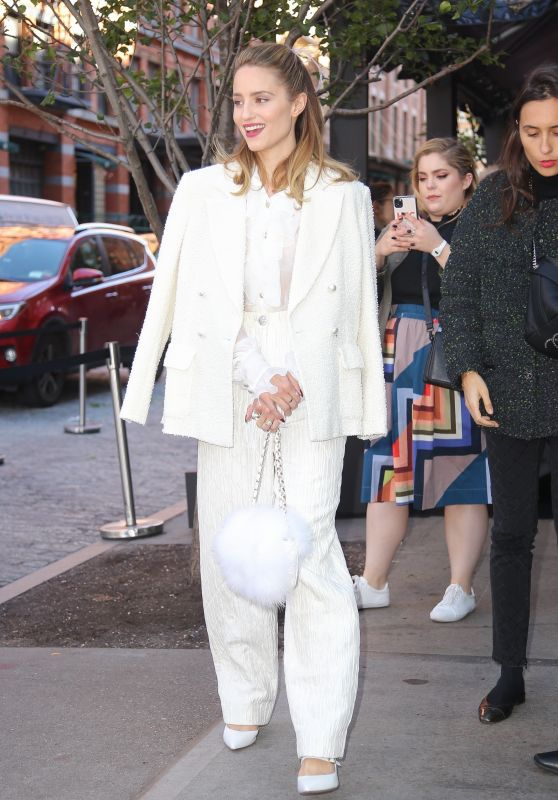 Dianna Agron in a White Outfit - NYC 11/04/2019