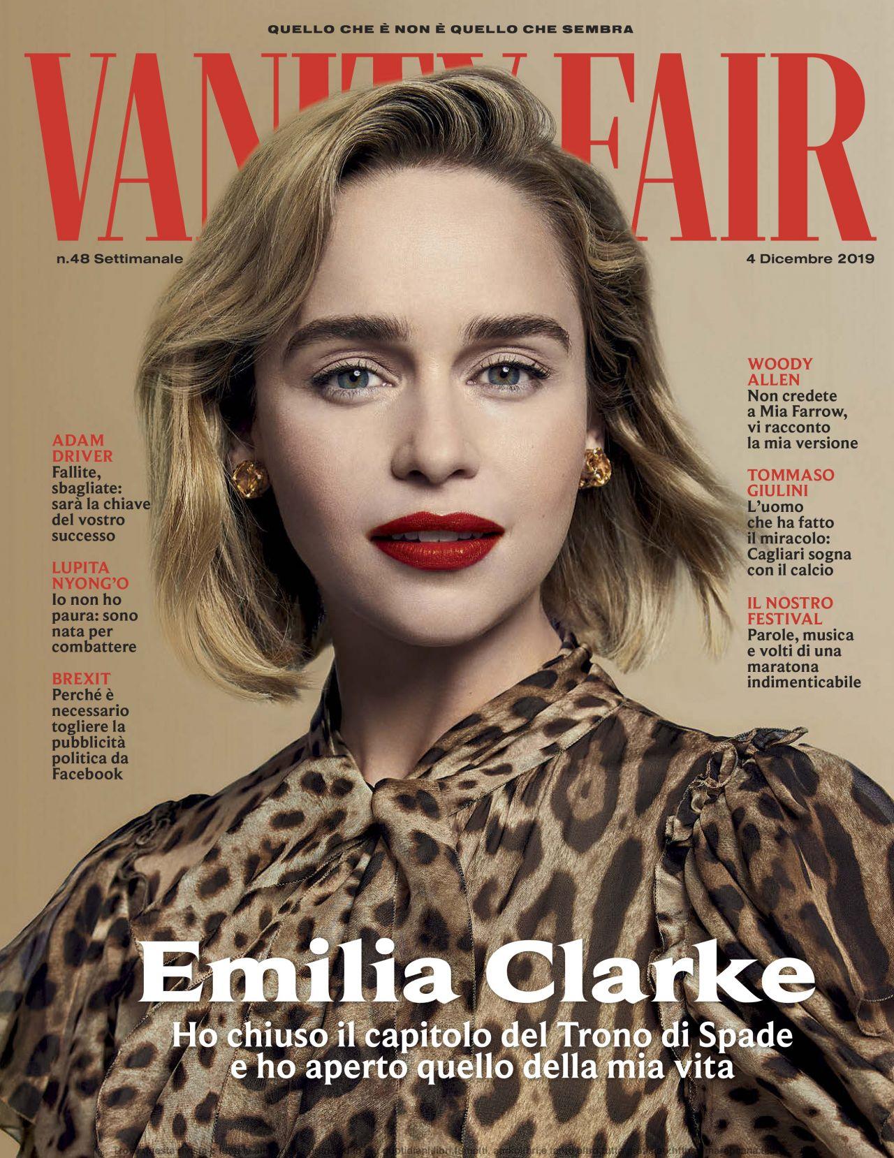 Vanity Fair Cover January 2020.Emilia Clarke Vanity Fair Italy 12 04 2019 Issue