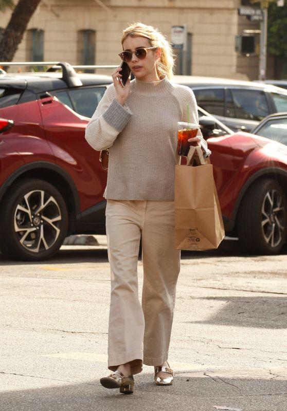 Emma Roberts in All Beige - Grabs Coffee in LA 11/19/2019
