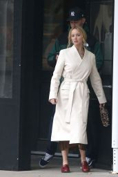Jennifer Lawrence Wearing a Belted White Coat - NYC 11/18/2019