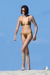 Kaia Gerber in a Bikini at a Beach in Miami 11/22/2019