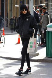 Kaia Gerber in a black Fit - NYC 11/14/2019