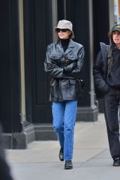 Kaia Gerber in a leather jacket and a bucket hat - NYC 11/14/2019
