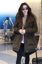 Lily Collins in Comfy Travel Outfit - LAX Airport 11/21/2019