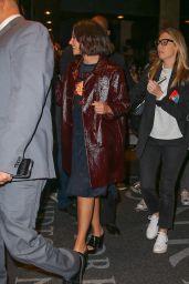 Naomi Scott in a Burgundy Leather Coat - NYC 11/05/2019
