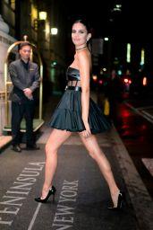 Sara Sampaio in Black Mini Dress - Midtown New York 10/30/2019