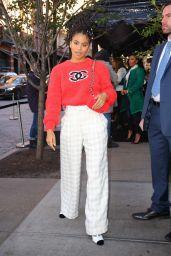 Zazie Beetz in a Channel Red Sweater 11/04/2019