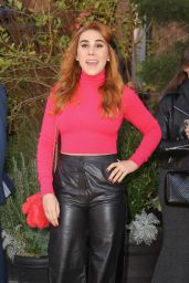 Zosia Mamet in a Leather Pants and a Pink Sweater 11/04/2019