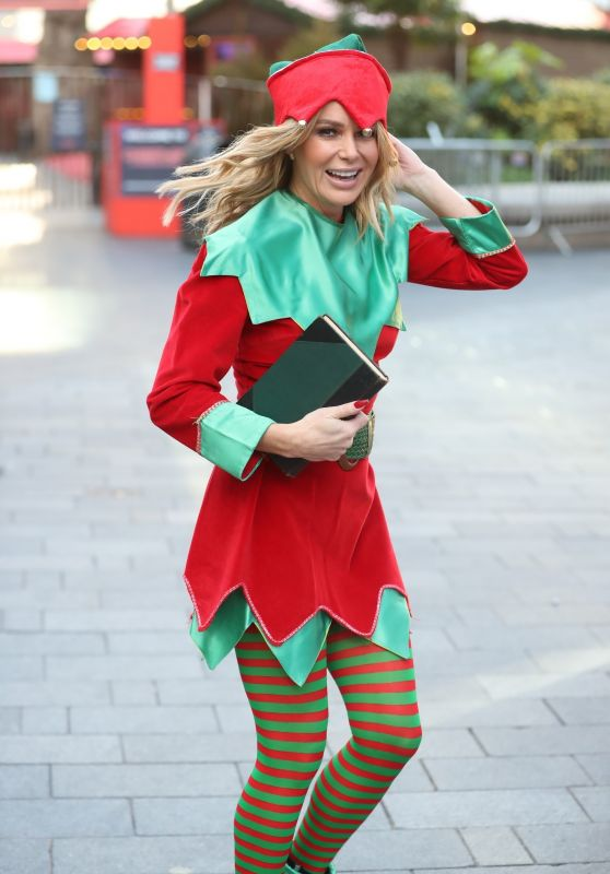 Amanda Holden in a Christmas Elf Costume at London