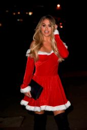 Bianca Gascoigne Dressed as Santa - Heads to a Christmas Party in Essex 12/14/2019