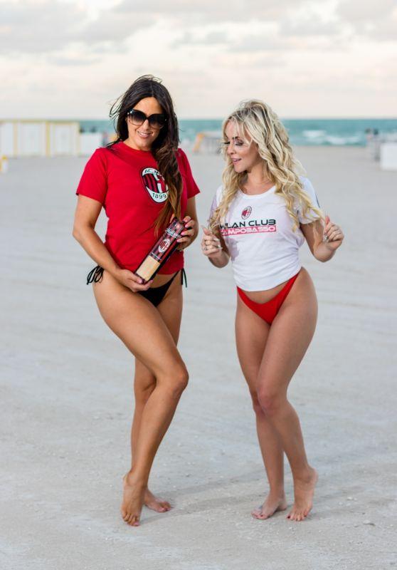 Claudia Romani and Jess Picado - Photoshoot to Celebrate AC Milan in Miami 12/08/2019