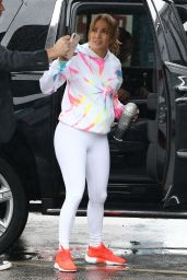 Jennifer Lopez in a White Leggings - Arrives at the Gym in Miami 12/19/2019