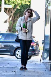 Katherine Schwarzenegger in a White Coat and Black Leggings - Los Angeles 12/08/2019