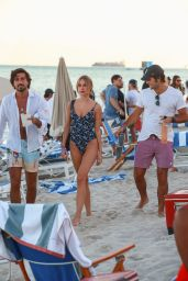 Kimberley Garner in a Blue Swimsuit on the Beach in Miami 12/06/2019
