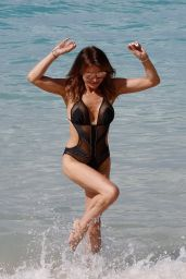 Lizzie Cundy in a Swimsuit on the Beach Barbados 12/30/2019
