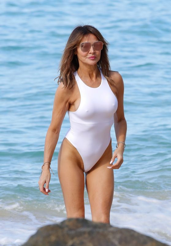 Lizzie Cundy in a Swimsuit on the Beach in Barbados 12/28/2019