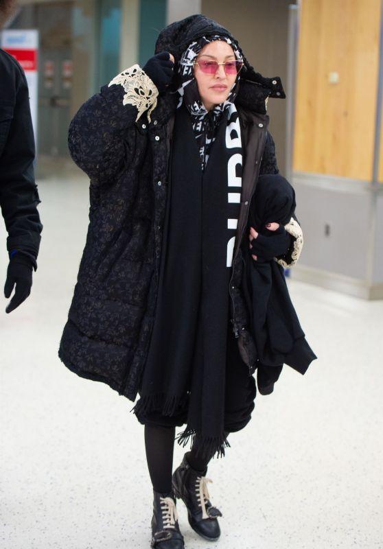 Madonna Winter Style - JFK Airport in New York 12/27/2019