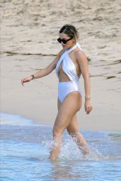 Rita Ora in a White Swimsuit on the Beach in Saint Barthélemy Island 12/21/2019