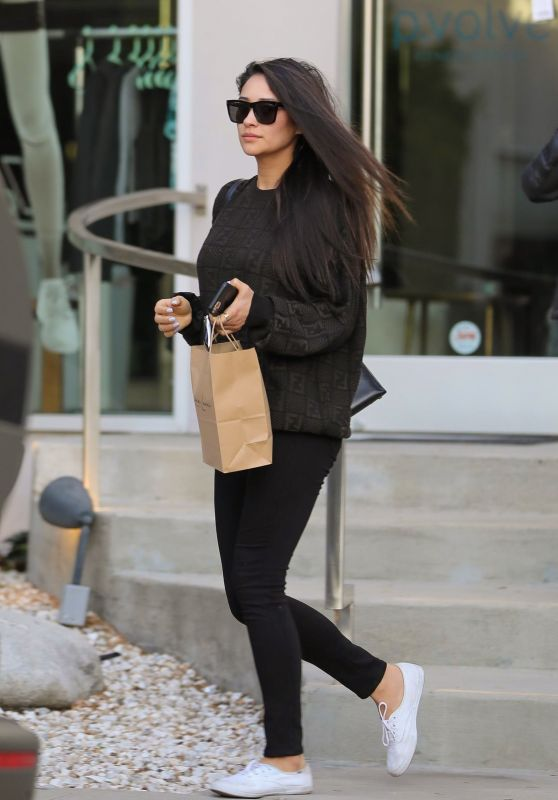 Shay Mitchell in Tights - Leaves a Beauty Salon in West Hollywood 12/20/2019