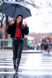 Victoria Justice in the Rain Under Her Umbrella 12/09/2019