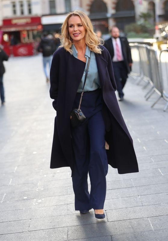 Amanda Holden in a Blue Coat - Out in London 01/09/2020