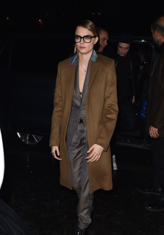Cara Delevingne - Arriving at Cavier Kaspier Restaurant in Paris 01/17/2020