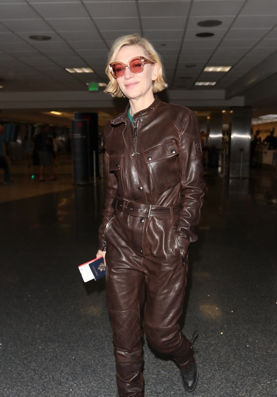 Cate Blanchett in an Edgy Brown Leather Boilersuit 01/09/2020