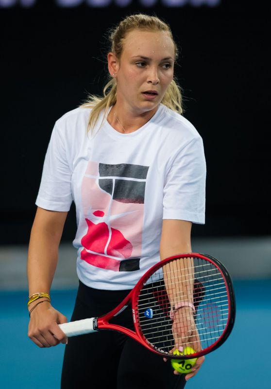 Donna Vekic - Practises During the 2020 Australian Open 01/19/2020
