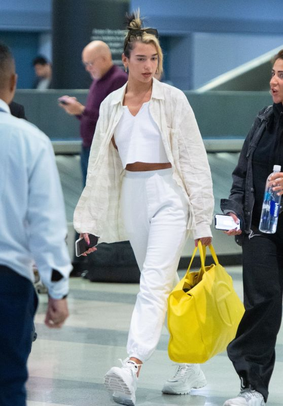 Dua Lipa in Casual Outfit - Arrives at JFK Airport in New York 01/09/2020