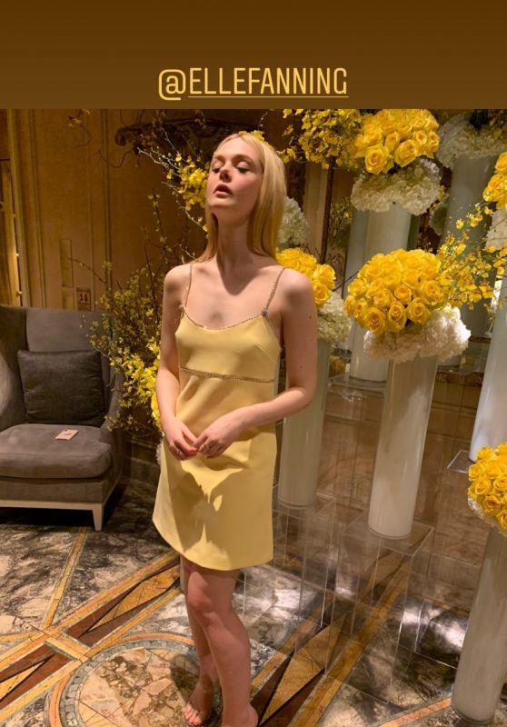 Elle Fanning in a Yellow Dress 01/17/2020