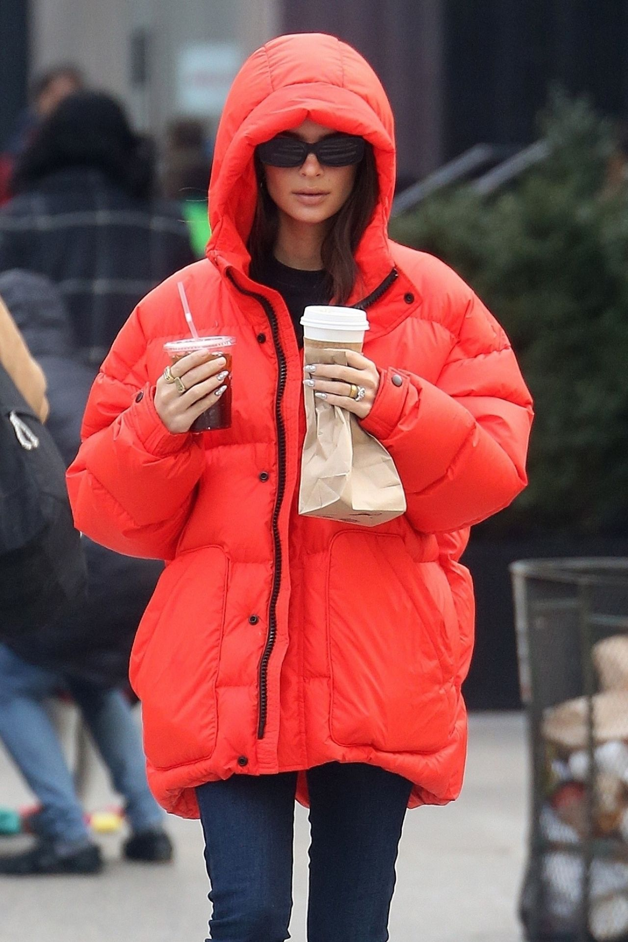 Emily Ratajkowski in Bright Red Puffer Coat 01/23/2020