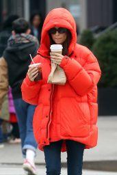 Emily Ratajkowski in Bright Red Puffer Coat 01/23/2020