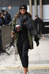 Emma Barton Street Style - Leaves the Hotel in Manchester 01/15/2020