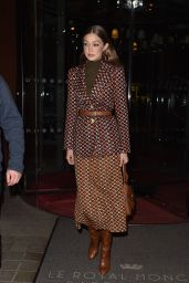 Gigi Hadid – Arrives at the Prada Dinner Party in Paris 01/19/2020